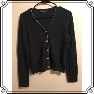 🌟 Brooks Brothers Navy Blue Cable Knit Cardigan